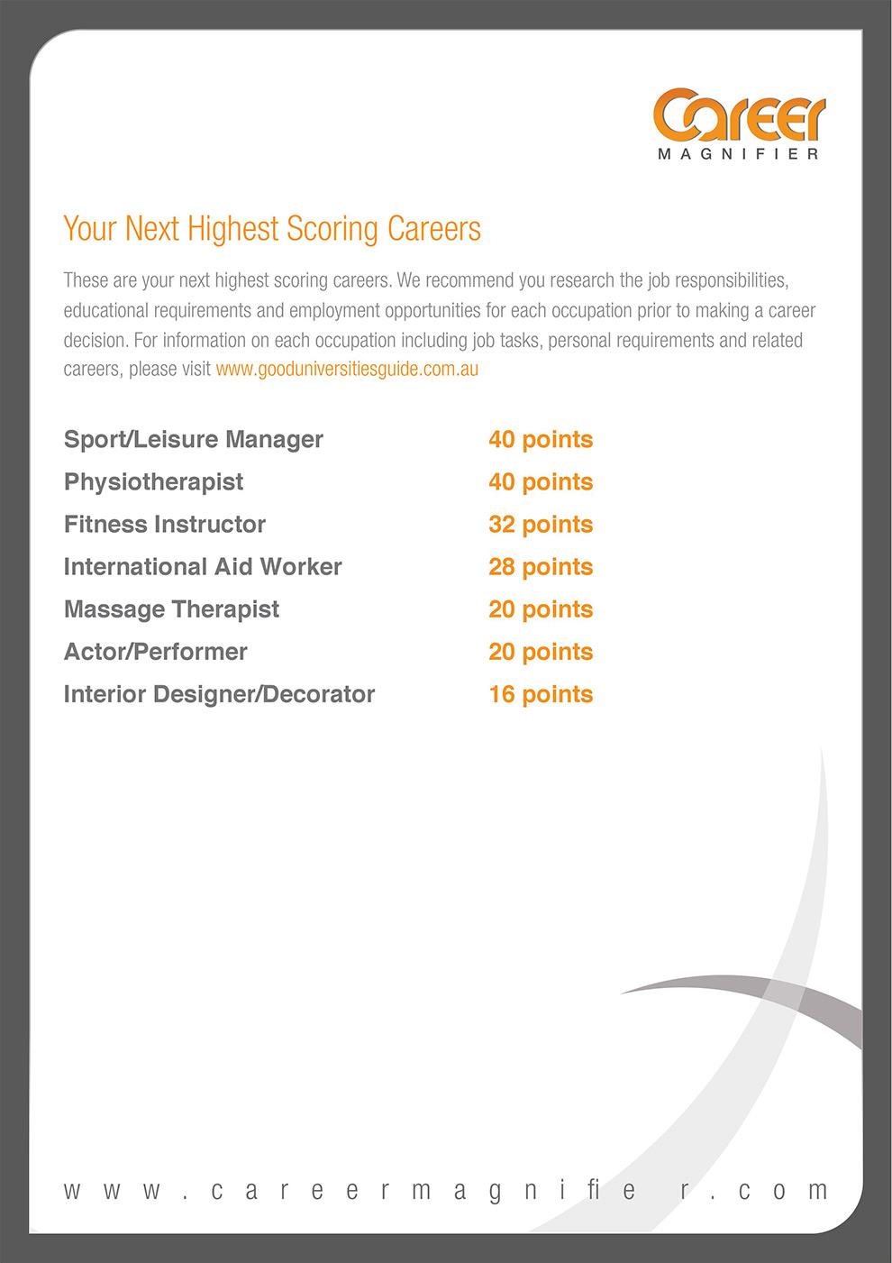 Sample Career Interests Report - Career Magnifier