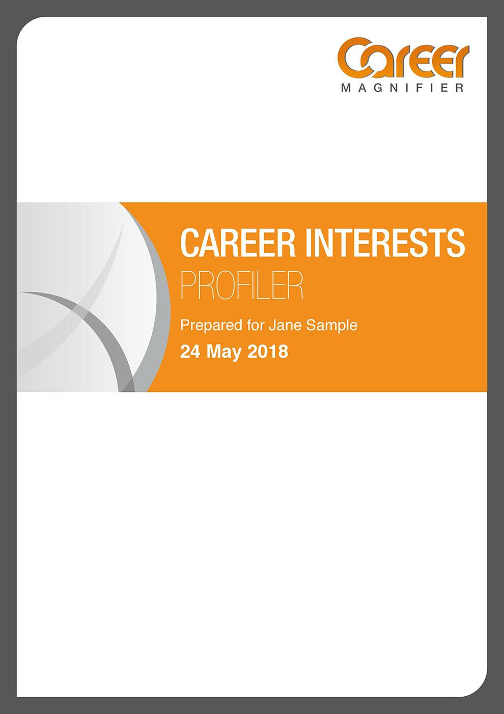 Sample Career Essment | Sample Career Interests Report Career Magnifier